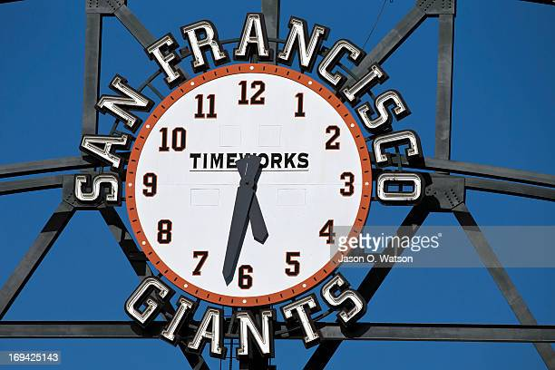 Detailed view of the San Francisco Giants clock displayed in the outfield before the game against the Washington Nationals at ATT Park on May 21 2013...