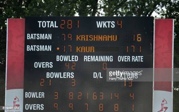Detailed view of the scoreboard as Harmanpreet Kaur of India scores 171 not out during the ICC Women's World Cup 2017 match between Australia and...