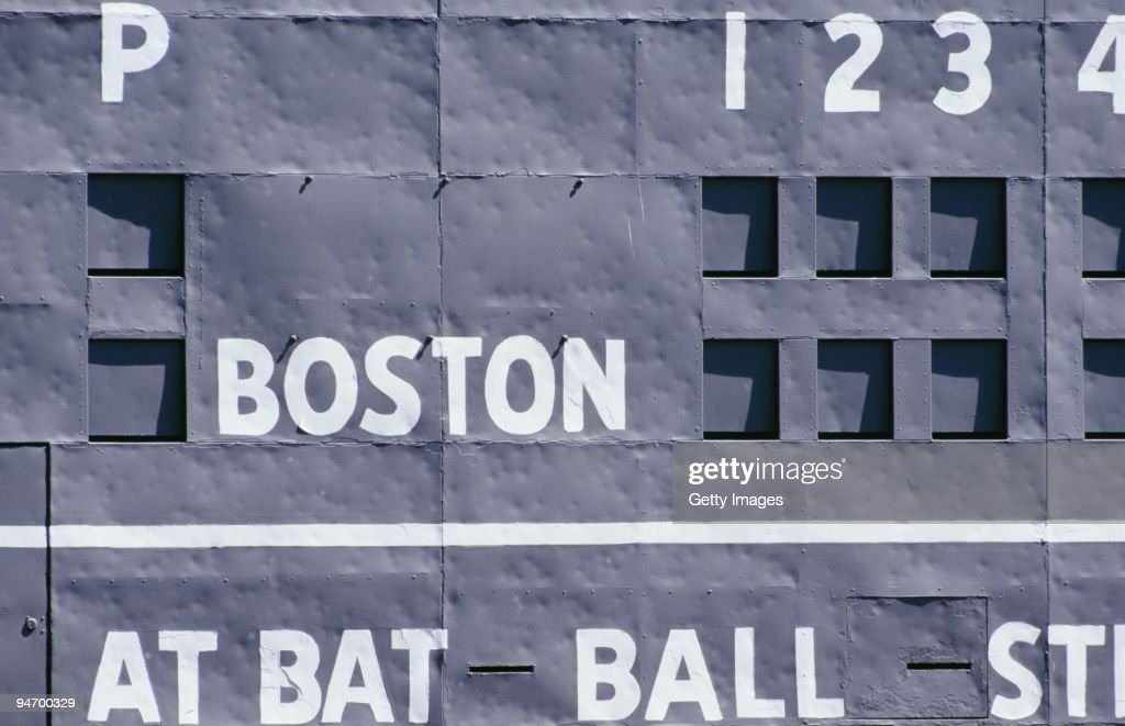 A detailed view of the scoreboard during the game between the Detroit Tigers and the Boston Red Sox on June29, 1997 at Fenway Park in Boston, Massachusetts. The Red Sox defeated the Tigers 8-6.
