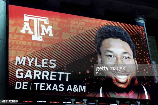 A detailed view of the screen on stage of Myles Garrett of Texas AM after being picked overall by the Cleveland Browns during the first round of the...