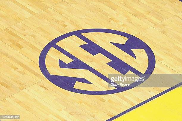 A detailed view of the SEC logo during a game between the Mississippi State Bulldogs and the LSU Tigers at the Pete Maravich Assembly Center on...