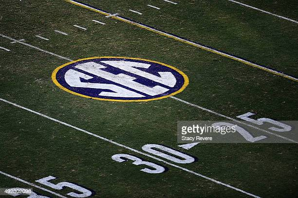 A detailed view of the SEC logo during a game between the South Carolina Gamecocks and the LSU Tigers at Tiger Stadium on October 10 2015 in Baton...