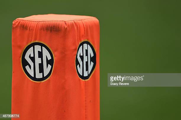 Detailed view of the 'SEC' logo on an end zone pylon during a game between the Tennessee Volunteers and the Chattanooga Mocs at Neyland Stadium on...