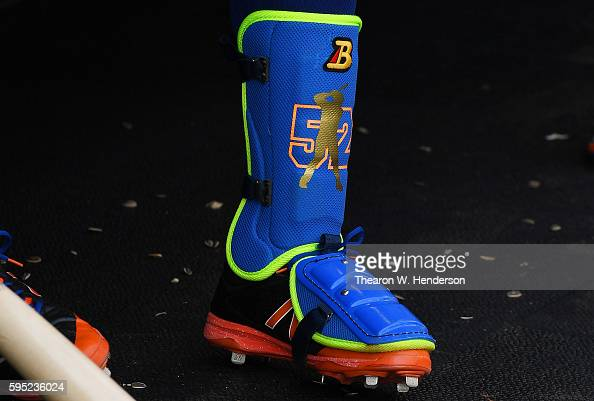 A detailed view of the shin and foot guard worn by Yoenis Cespedes of the New York Mets against the San Francisco Giants at ATT Park on August 20...