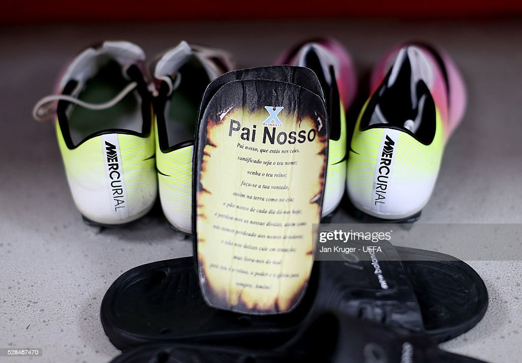 A detailed view of the shin pads of Philippe Coutinho of Liverpool with a poem written inside during the UEFA Europa League Semi Final second leg match between Liverpool and Villarreal CF at Anfield on May 05, 2016 in Liverpool, England.