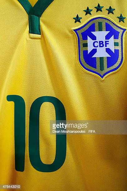 A detailed view of the shirt Gabriel Jesus of Brazil in the changing room during the FIFA U20 World Cup New Zealand 2015 Group E match between...