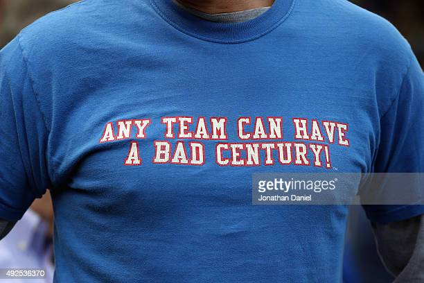 A detailed view of the shirt of a Chicago Cubs fan prior to game four of the National League Division Series between the Chicago Cubs and the St...