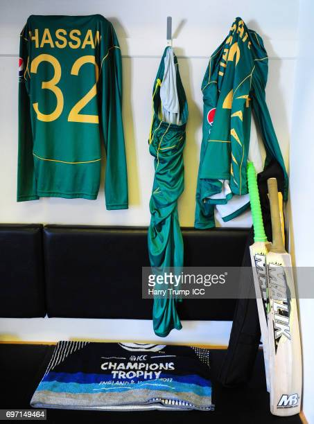 Detailed view of the shirt of Hassan Ali of Pakistan during the ICC Champions Trophy Final match between India and Pakistan at The Kia Oval on June...