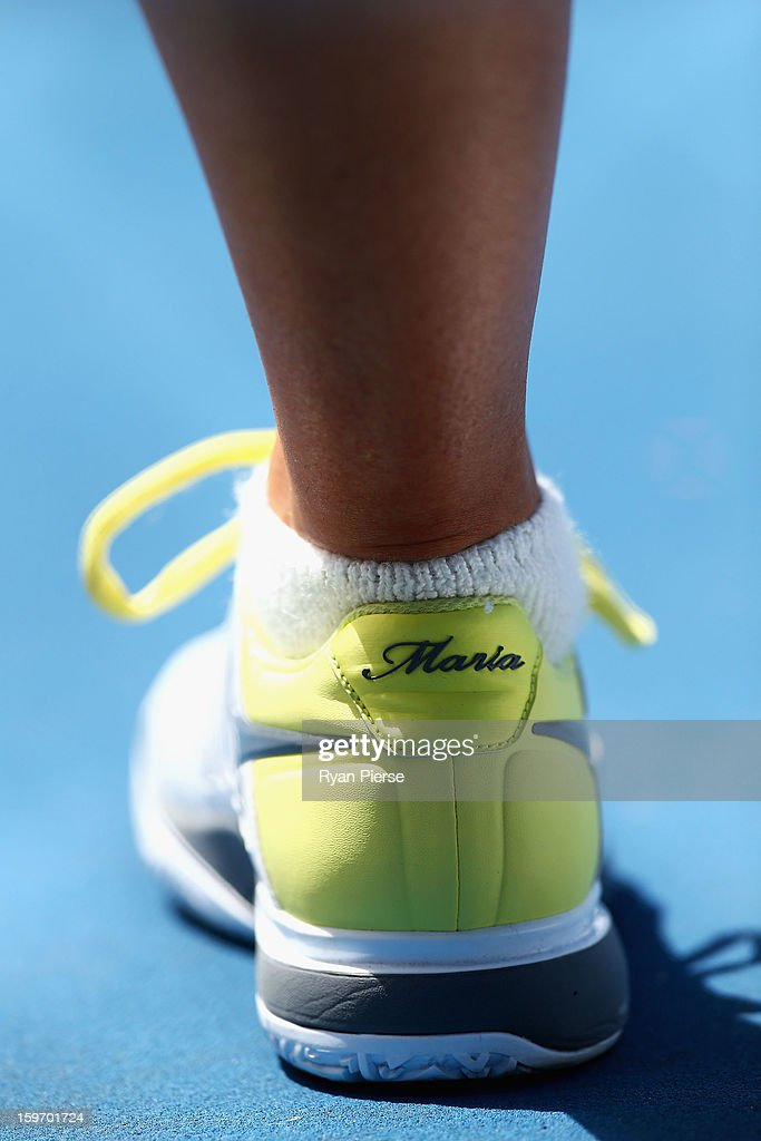 A detailed view of the shoes of Maria Sharapova of Russia in a practice session during day six of the 2013 Australian Open at Melbourne Park on January 19, 2013 in Melbourne, Australia.