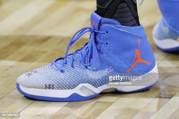 A detailed view of the shoes of Russell Westbrook of the Oklahoma City Thunder during practice for the 2017 NBA AllStar Game at the MercedesBenz...