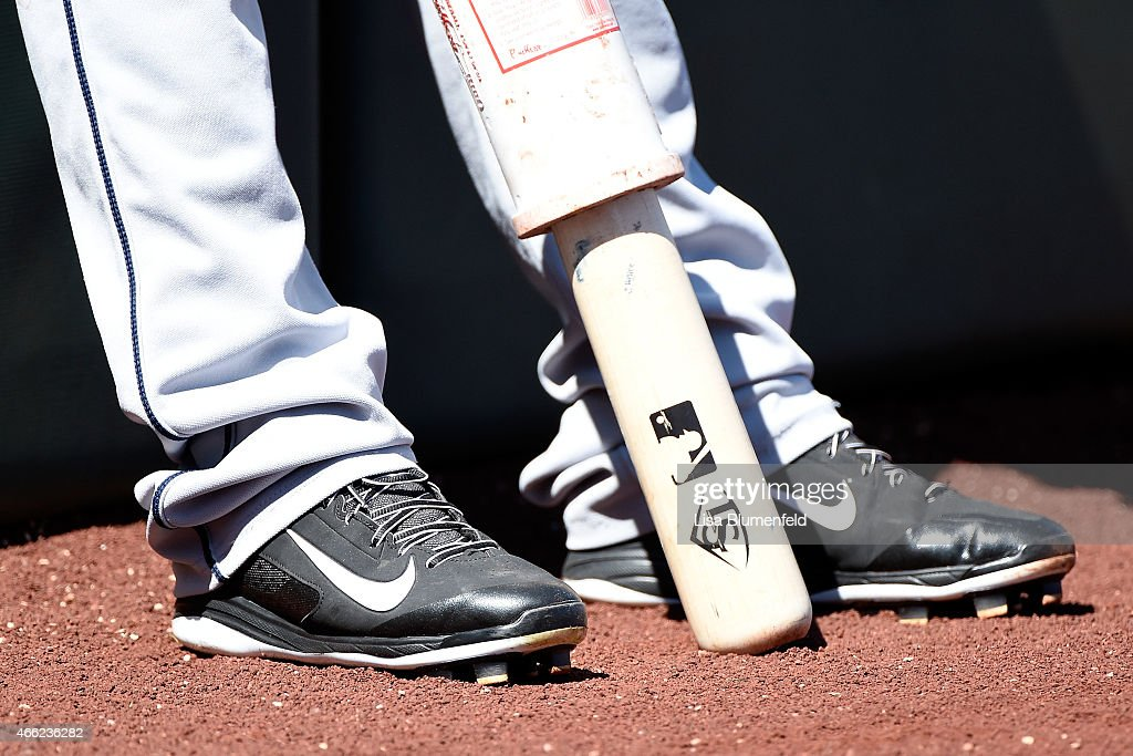 A detailed view of the shoes worn by Alexi Amarista #5 of the San Diego Padres on deck during the game against the Los Angeles Angels of Anaheim at Tempe Diablo Stadium on March 13, 2015 in Tempe, Arizona.