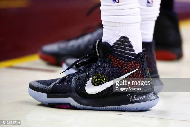 Detailed view of the shoes worn by Kyrie Irving of the Cleveland Cavaliers while playing the Miami Heat at Quicken Loans Arena on March 6 2017 in...