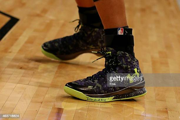 A detailed view of the sneaker of Stephen Curry of the Golden State Warriors and the Western Conference during the 2015 NBA AllStar Game at Madison...