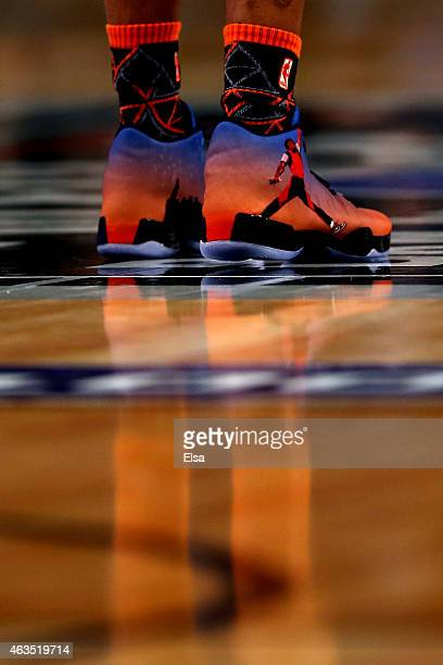 A detailed view of the sneakers of Russell Westbrook of the Oklahoma City Thunder and of the Western Conference during the Degree Shooting Stars...