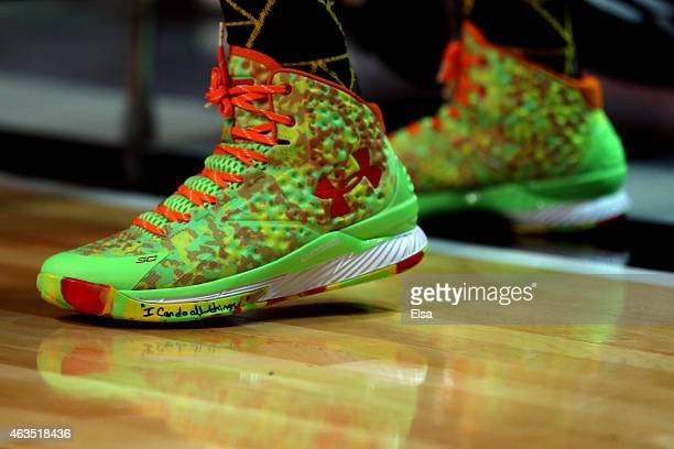 A detailed view of the sneakers of Stephen Curry of the Golden State Warriors and of the Western Conference during the Foot Locker ThreePoint Contest...