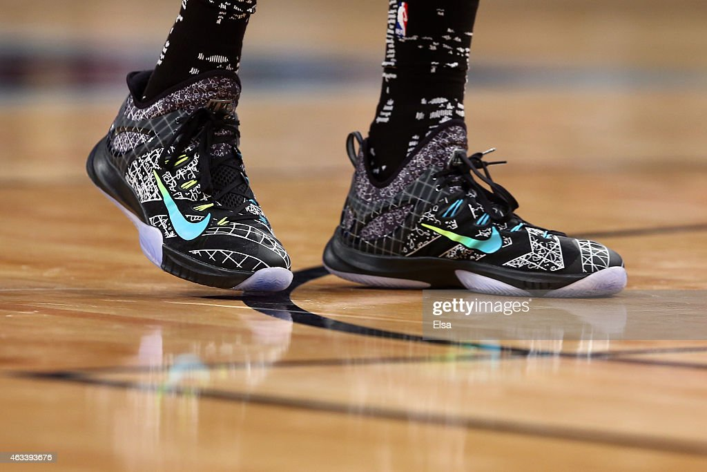 A detailed view of the sneakers of World Team's Giannis Antetokounmpo of the Milwaukee Bucks during the BBVA Compass Rising Stars Challenge as part...