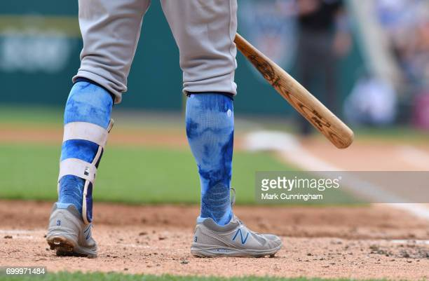 A detailed view of the special blue Stance brand socks worn by Evan Longoria of the Tampa Bay Rays for prostate cancer awareness on Father's Day...