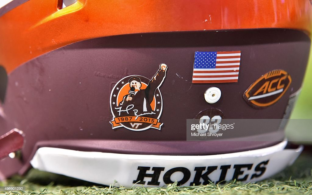 A detailed view of the special helmet sticker worn by members of the Virginia Tech Hokies in honor of head coach Frank Beamer prior to the game...