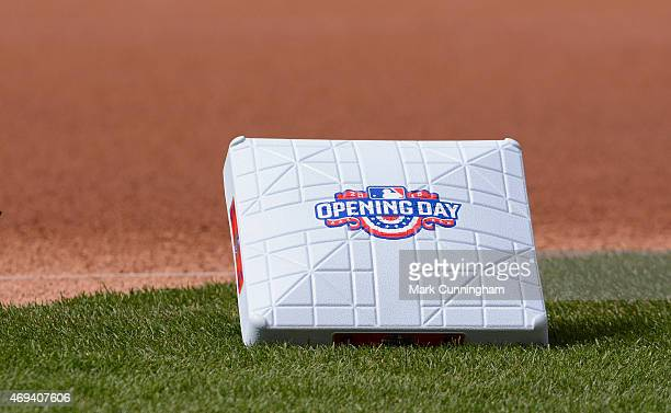 A detailed view of the special Opening Day base to be used prior to the Opening Day Game between the Detroit Tigers and the Cleveland Indians at...