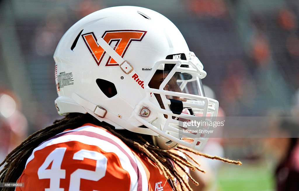 A detailed view of the special 'Orange Effect' helmet of running back Marshawn Williams #42 of the Virginia Tech Hokies before the game against the Western Michigan Broncos at Lane Stadium on September 27, 2014 in Blacksburg, Virginia.