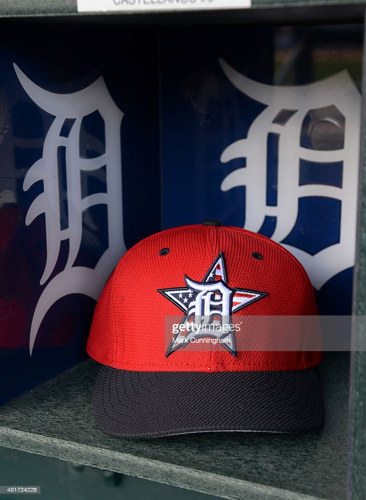 A detailed view of the special red, white and blue hat to honor Independence Day to be worn by Detroit Tigers players and coaches during the game against the Tampa Bay Rays at Comerica Park on July 4, 2014 in Detroit, Michigan. The Rays defeated the Tigers 6-3.