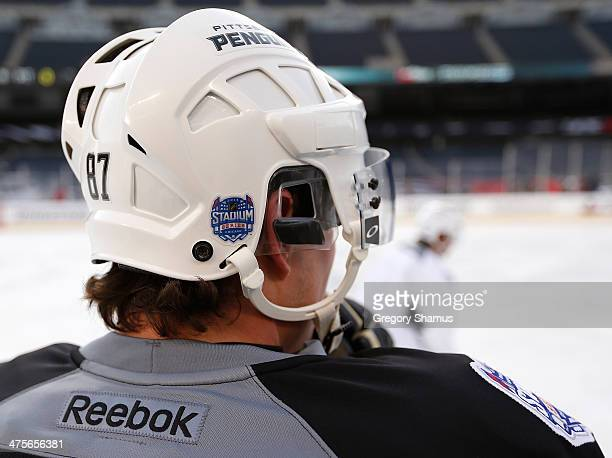 A detailed view of the Stadium Series logo as seen on the back of Sidney Crosby of the Pittsburgh Penguins helmet during the 2014 NHL Stadium Series...