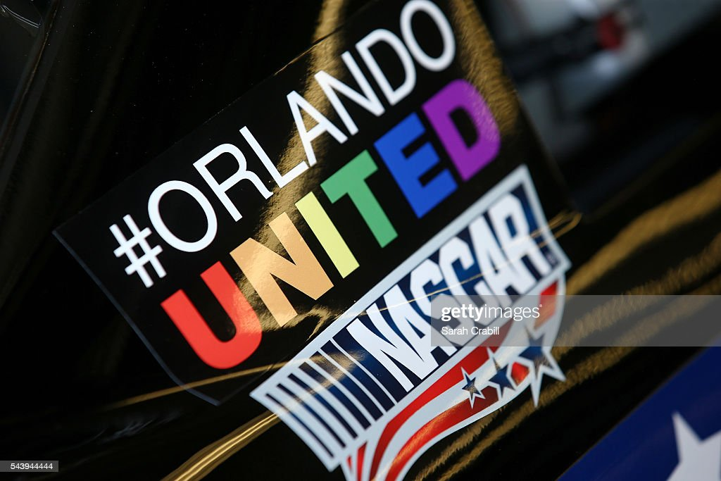 A detailed view of the stickers honoring the victims of the Orlando massacre and their families during practice for the NASCAR XFINITY Series Subway Firecracker 250 at Daytona International Speedway on June 30, 2016 in Daytona Beach, Florida.
