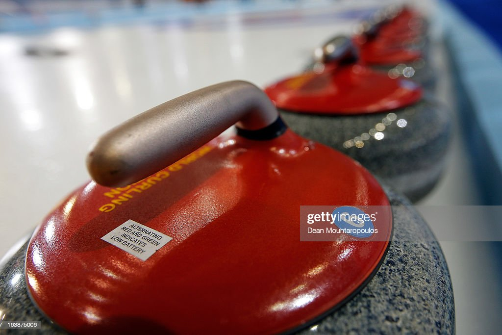 A detailed view of the stone or rocks lined up on the ice during Day 2 of the Titlis Glacier Mountain World Women's Curling Championship at the Volvo Sports Centre on March 17, 2013 in Riga, Latvia.