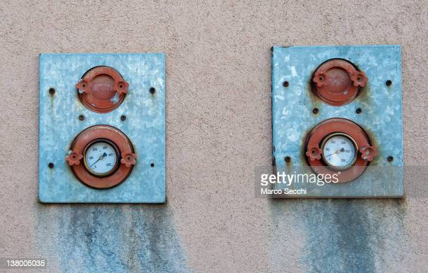 A detailed view of the thermometers at a furnace shows nearly 0 degrees meaning the owens are switched off on January 31 2012 in Venice Italy Glass...