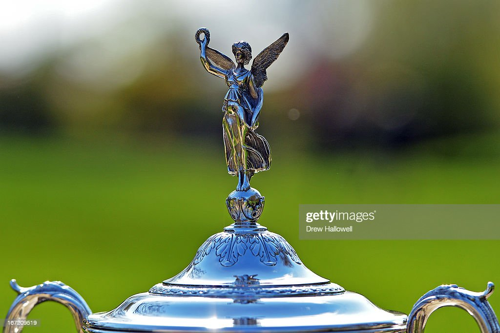 A detailed view of the top of the U.S. Open Championship Trophy on the East Course at Merion Golf Club on April 22, 2013 in Ardmore, Pennsylvania. Merion Golf Club is the site for the 2013 U.S. Open that will be played June 13-16.