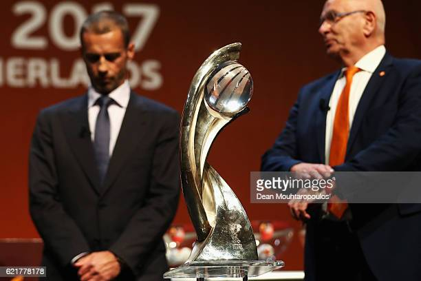 A detailed view of the trophy in front of KNVB President Michael van Praag and UEFA President Aleksander Ceferin on stage during the UEFA Women's...
