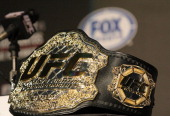 A detailed view of the UFC Championship belt prior to the UFC on Fox Velasquez v Dos Santos Press Conference at W Hollywood on September 20 2011 in...