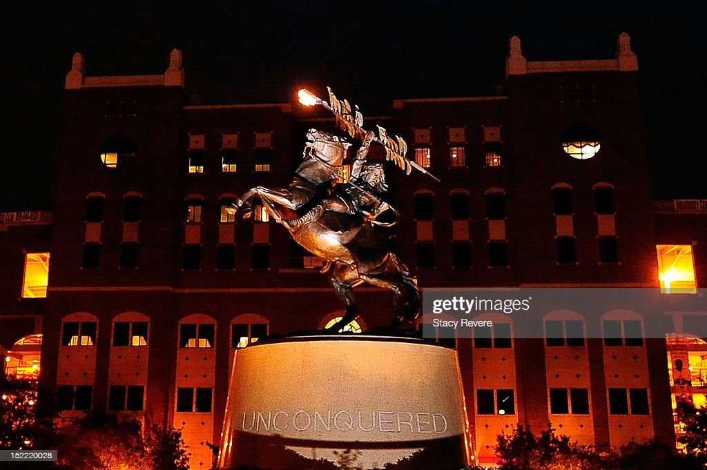 Detailed view of the 'Unconquered' statue the night before a game between the Wake Forest Demon Deacons and the Florida State Seminoles at Doak...