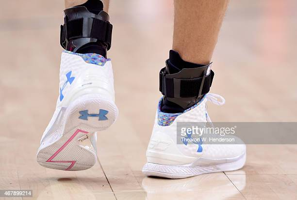 A detailed view of the Under Armour Basketball shoes worn by Stephen Curry of the Golden State Warriors against the Washington Wizards at ORACLE...