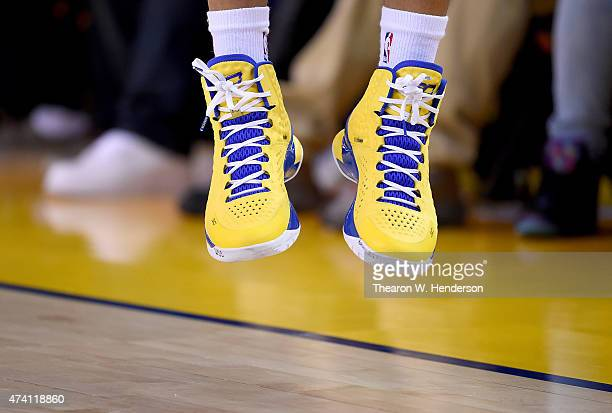 A detailed view of the Under Armour Basketball shoes worn by Stephen Curry of the Golden State Warriors against the Houston Rockets in Game One of...