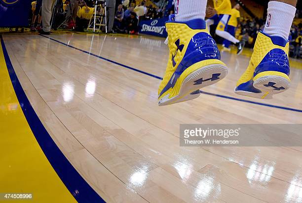 A detailed view of the Under Armour basketball shoes worn by Stephen Curry of the Golden State Warriors against the Houston Rockets in Game Two of...