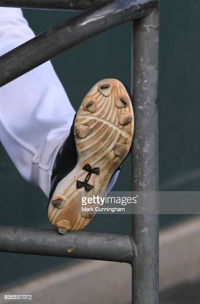 A detailed view of the Under Armour shoes worn by John Hicks of the Detroit Tigers during the game against the Minnesota Twins at Comerica Park on...