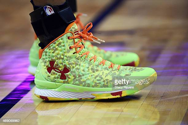 Detailed view of the Under Armour sneakers worn by Stephen Curry of the Golden State Warriors during a game against the New Orleans Pelicans at the...