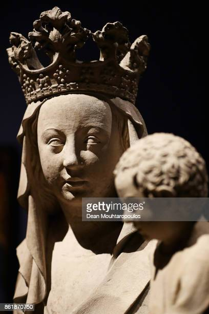 A detailed view of the Virgin and Child known as the Aynard Madonna in the Johan Maelwael special exhibition held at the Rijksmuseum Exhibition on...