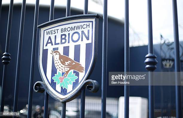 Detailed view of the West Brom badge on a gate ahead of the Premier League match between West Bromwich Albion and Queens Park Rangers at The...