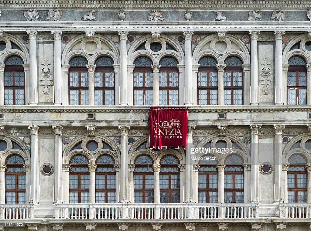 A detailed view of the windows of Venice Casino at Ca' Vendramin Calergi on the Grand Canal on the day they announced over 140m EUR of losses on...