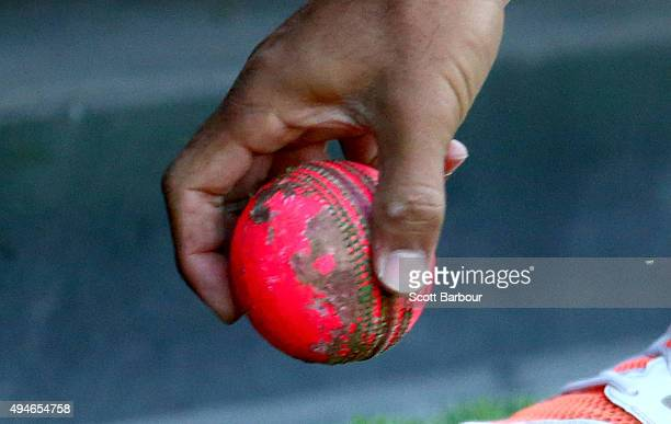 A detailed view of the worn pink cricket ball after it was hit to the boundary at 539PM half way through the second session of the day during day one...