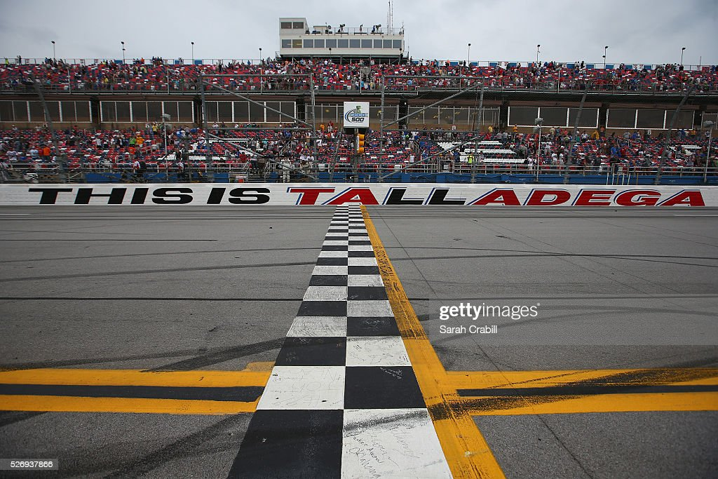 A detailed view of tire marks on the start finish line after the NASCAR Sprint Cup Series GEICO 500 at Talladega Superspeedway on May 1, 2016 in Talladega, Alabama.
