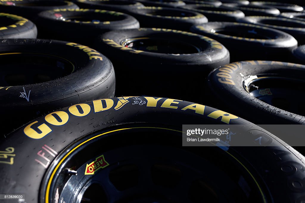 A detailed view of tires in the garage area during the NASCAR Sprint Cup Series Folds of Honor QuikTrip 500 at Atlanta Motor Speedway on February 28, 2016 in Hampton, Georgia.
