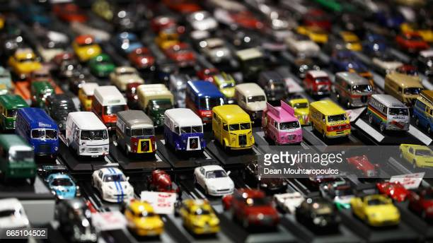 A detailed view of toy or model cars and vans including during the The 29th TechnoClassica Essen run by SIHA Salons Automobiles and held at Messe...