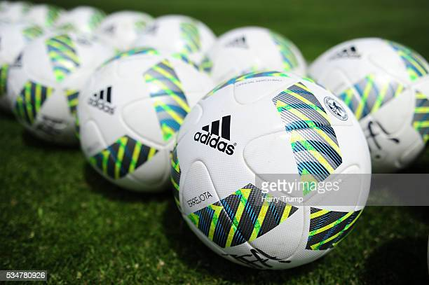 Detailed view of training balls during the Toulon Tournament match between Guinea and Japan at Stade Antoinr Baptiste on May 25 2016 in...