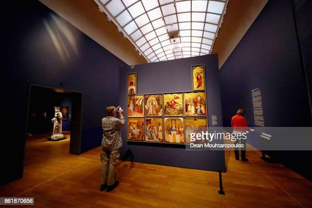 A detailed view of Two Wings of a Marian Altarpiece know as the Middle Rhine Altarpiece by Johan Maelwael during a special exhibition held at the...