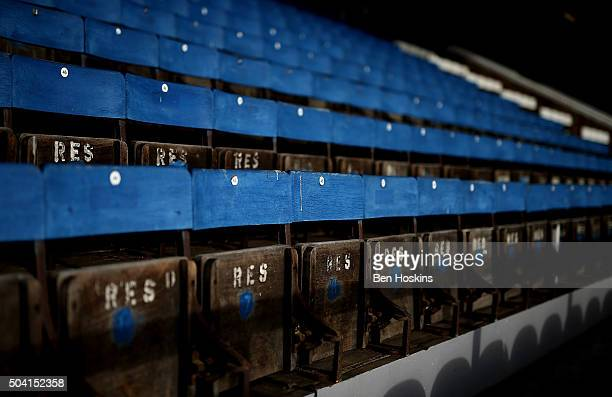 A detailed view of wooden seats ahead of the FA Cup Third Round match between Peterborough United and Preston North End at London Road Stadium on...