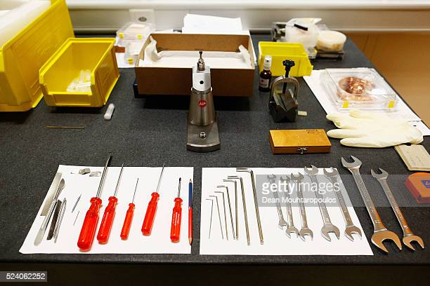 A detailed view ot the tools used by Metrologist Didier Glaude from the Metrology section in Building 72 the Mechanical Materials Engineering...