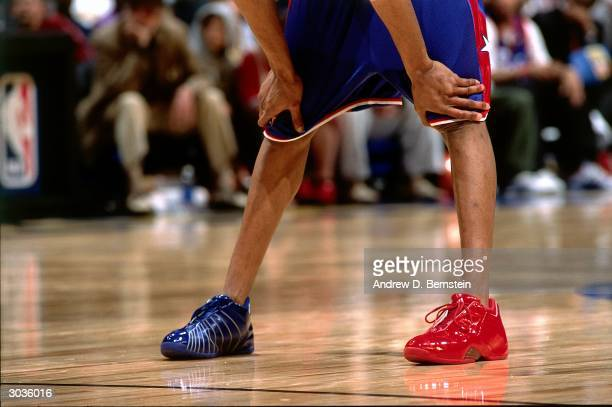 A detailed view shows the sneakers of Tracy McGrady of the East AllStars during the 2004 NBA AllStar Game at the Staples Center part of the 53rd NBA...